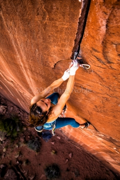 "Steph Davis climbing ""Hidden Gem"" (13?) near Moab Utah."