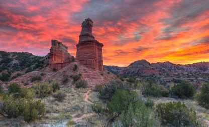 Palo Duro Canyon's Lighthouse at Sunset 1